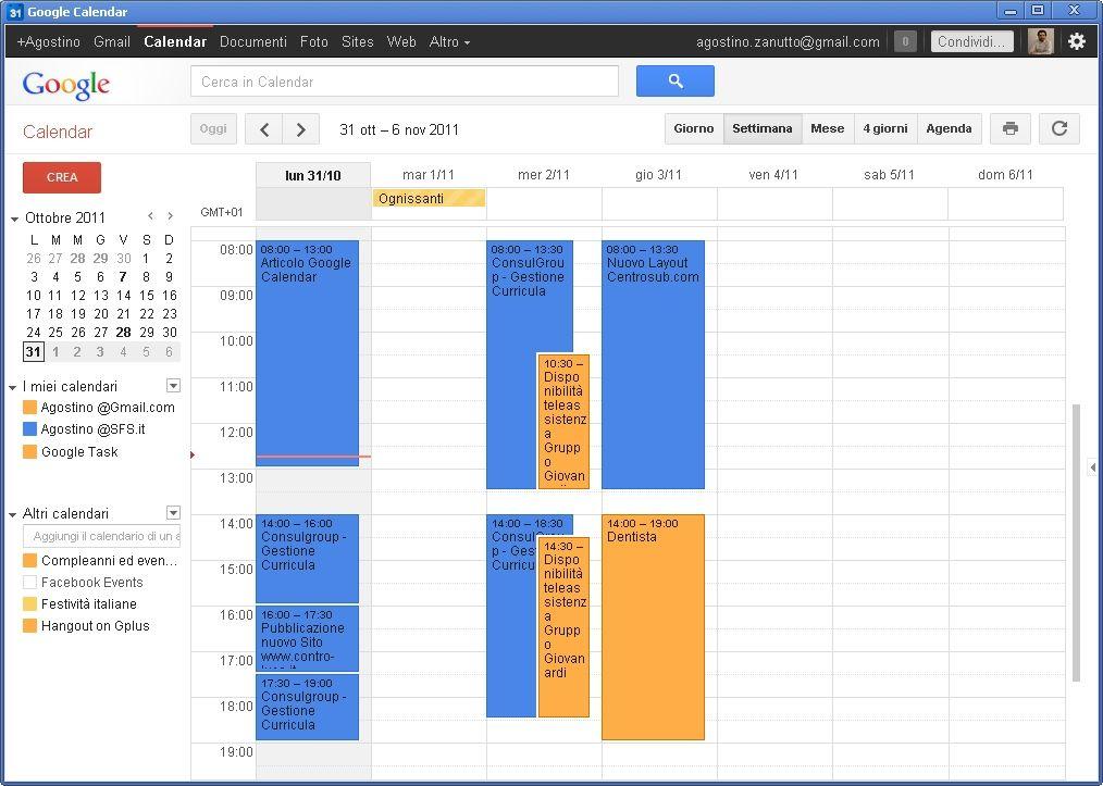 Calendario Condiviso Gmail.Agenda Galaxy S2 Agenda Calendari Multipli Colori